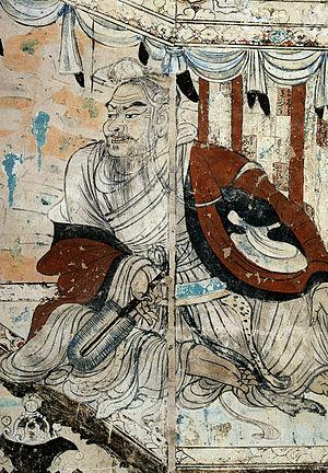 drawing of Vimalakirti debating Manjusri, two famous Buddhists