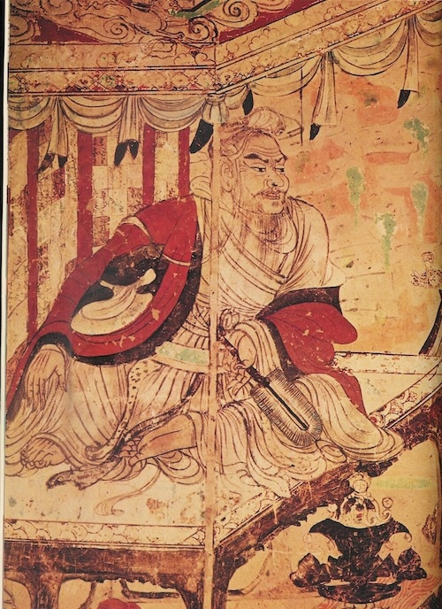 ancient painting of Vimalakirti, a famous Buddhist who is the subject of a sutra.