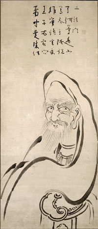 ancient line drawing of Vimalakirta, who we studied at the Zen retreat.